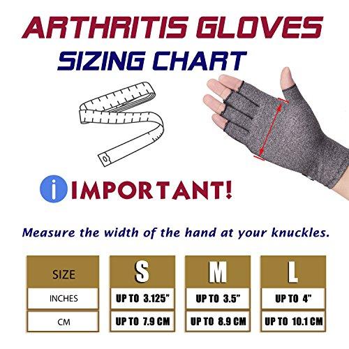 Banillue Compression Arthritis Gloves, Fingerless Hand Gloves for Rheumatoid & Osteoarthritis - Joint Pain and Carpel Tunnel Relief-Men & Women -Small by BANILLUE (Image #5)