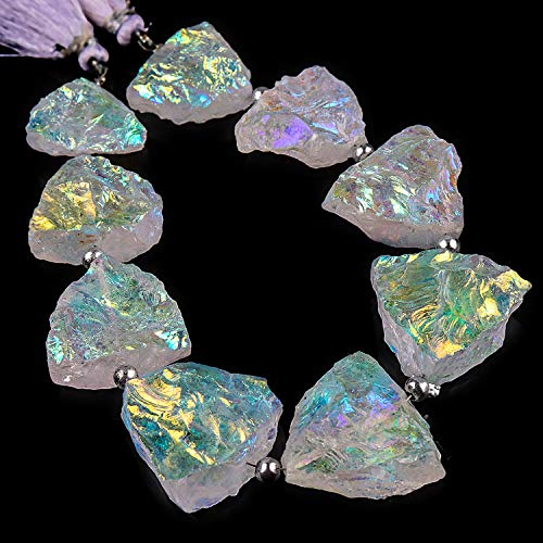 255+ cts Angel Aura Quartz Crystals, Mystic Aura Quartz, Rough Triangle Strand, Natural Gemstone, Crystals Specimen, Rock Minerals, Crystals for Jewelry, Loose Beads Strand, 8+ Beads, 18cm Strand.