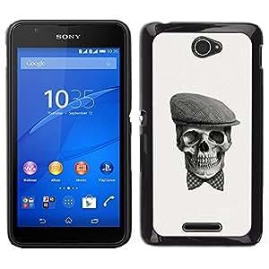 EJOY---Cubierta de la caja de protección la piel dura para el ** Sony Xperia E4 ** --Cráneo Gentleman