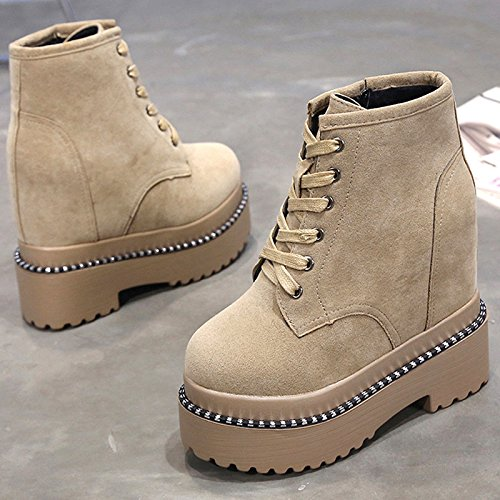 High Winter Match 13Cm Boots Boots Ultra Heel Boots Soled KPHY And Thick Increased Martin Grey All Autumn Muffin Female qnwIZ