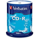 Verbatim 700 MB 52x 80 Minute Branded Recordable Disc CD-R - 100-Disc Spindle, FFP 97458