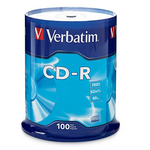Verbatim CD-R 700MB 80 Minute 52x Recordable Disc - 100 Pack Spindle (FFP) by Verbatim