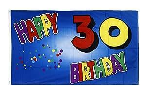 FahnenMax–Bandera Happy Birthday 30azul + Gratis Pegatinas, Flaggenfritze–Bandera, Hissflagge 90 x 150 cm