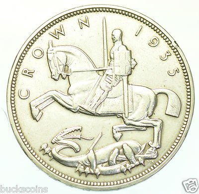 Almost Uncirculated 1935 British Silver Crown -- Jubilee Commemorative