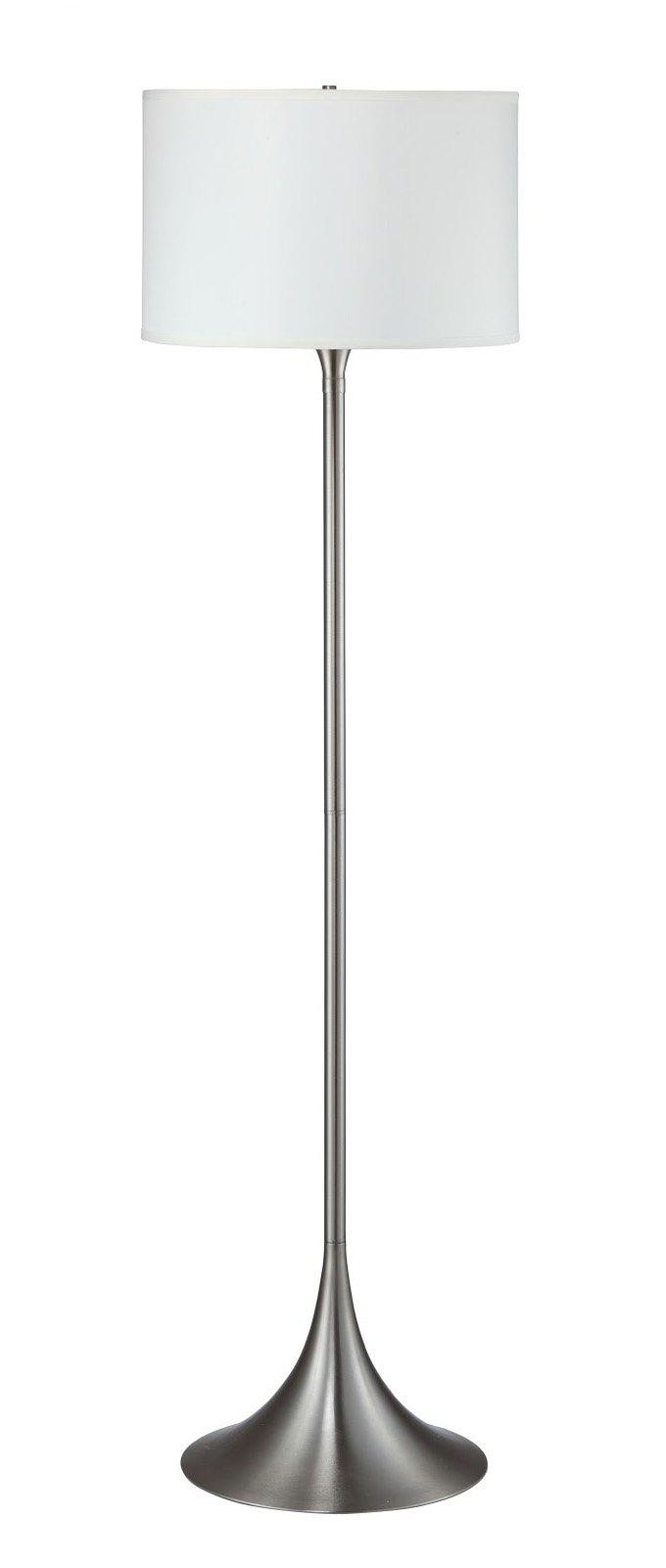 Hongville Brushed Steel Base White Shade Floor Lamp