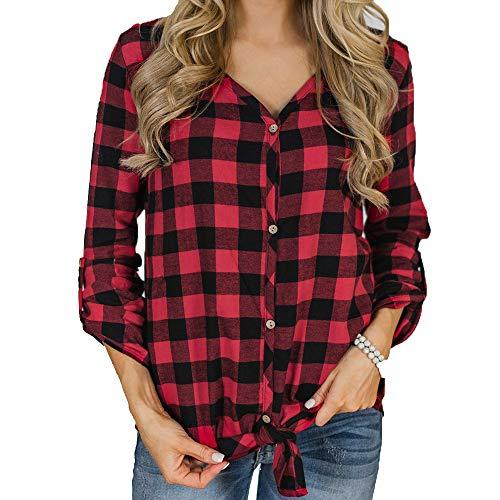 SUJING Womens Casual Long Sleeve Plaid Shirt Long