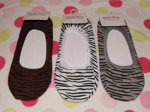 - 6 Pairs Women Girls Lace No Show Foot Heel /Liner Sock/Socks--zebra Design-free Shipping