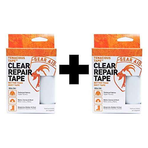 McNett Gear Aid Tenacious Tape Clear Ultra Strong Flexible Outdoor Repair 2-Pack by Gear Aid