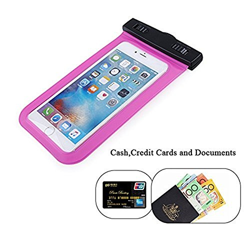 Universal Waterproof Case, GreenElec Cell Phone Dry Bags Pouch for iPhone 4s 5s 6s plus, Samsung Galaxy S4 S5 S6 S7 Edge Note, HTC LG Sony Nokia Motorola, Wallet. and up to 5.7 Inch diagonal (Rose)