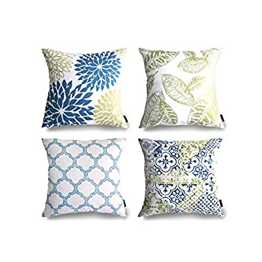 Phantoscope New Living Blue&Green Decorative Throw Pillow Case Set of 4