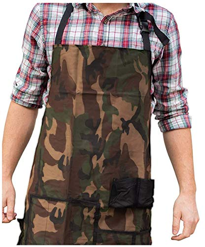 Camo BBQ Grilling Apron - Funny Apron for Dad - 1 Size Fits All Chef Apron Poly/Cotton 4 Utility Pockets, Adjustable Neck and Extra Long Waist Ties ()