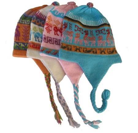 Wholesale Four Pack Peru Child Chullo Ski Hat Alpaca Blend Hand Made Assortment
