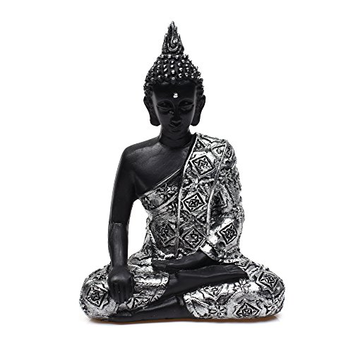 "KLOUD City 5""H Resin Silver Color Buddhist Thai Buddha Meditating Peace Harmony Statue,Religious Figurine, Memorable Sculpture"