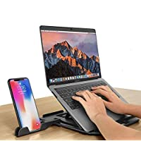 Laptop Desk With Phone Stand- Adjustable Laptop Riser Compatible For 10 to 17'' And All Laptops