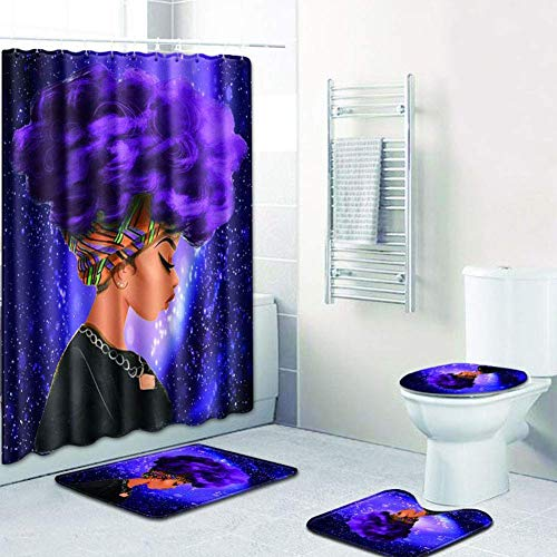 EVERMARKET Creative Colorful Printing Toilet Pad Cover Bath Mat Shower Curtain Set for Bathroom Decor,4 Pcs Set - 1 Shower Curtain & 3 Toilet Mat and Lid Cover (African Woman Purple Hair Galaxy)