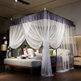 KE & LE 4 Corner Tent Mesh Canopy Curtains with Bottom, Princess Bedding Curtain Hanging Mosquito Net Mosquito Tent Twin Full Queen Baby Indoor Outdoor Play Reading Tent-a W:185cmxh:205cmxd:200cm