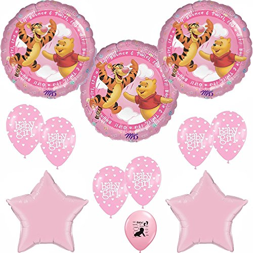 Winnie The Pooh Baby Plate (Winnie the Pooh Its A Girl Baby Shower Balloons Decoration Kit)
