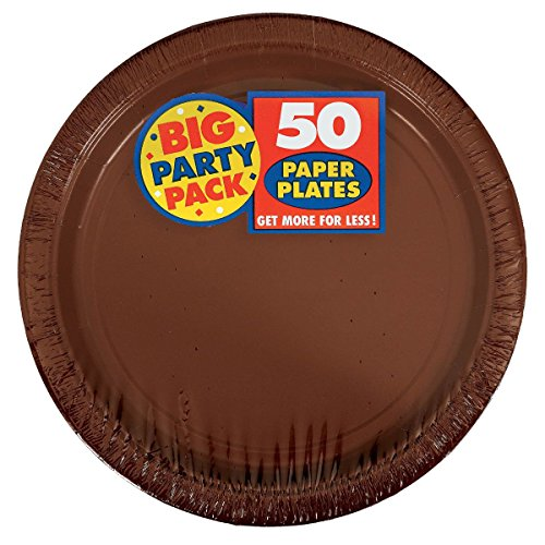 Plates Brown Paper - Chocolate Brown Big Party Pack - Dessert Plates (50 count)