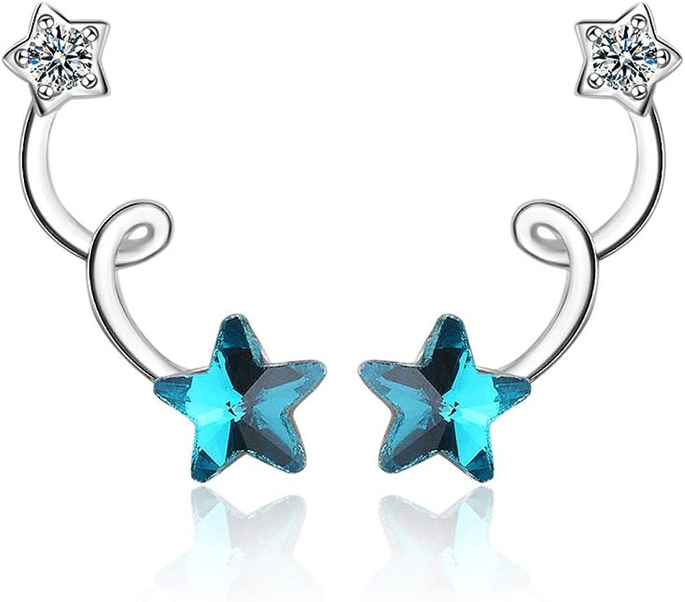Boucles doreilles /à tige en forme d/étoile en argent sterling 925 et zircone cubique Pour femmes et filles