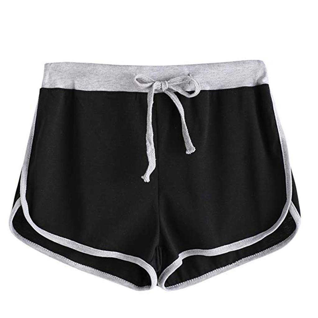 BSGSH Women's Contrast Trim Dolphin Yoga Workout Shorts Casual Comfy Lounge Shorts (M,Black)