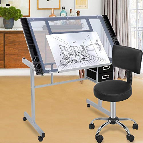 lunanice Drafting Table Craft Station w/Glass Top & Adjustable Spa Salon Stool Chair ()