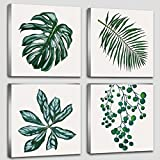 #7: Green Plant Canvas Wall Art Minimalist Modern Nordic Green Plant Little Fresh Combination Canvas Printed Succulent Green Plants Pictures Home Office Decorative Floral Artwork Stretched Framed