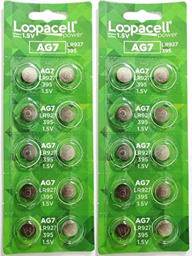 Alkaline Button Battery AG7 Button Cell Batteries by LOOPACELL AG7 Coin Cell Battery 20
