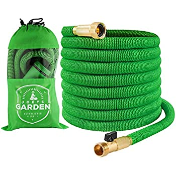 Garden Hose - 50 Foot Green - Expanding Extra Strength Stretch Material with Brass Connectors - Bonus 8 Way Spray Nozzle, Carrying Bag and Hanger - by Joeys Garden