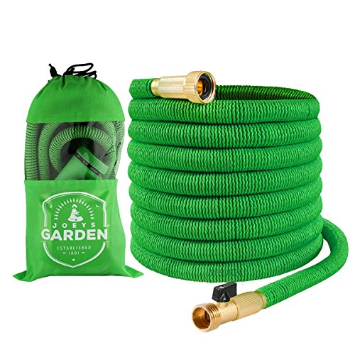 Joeys Garden Garden Hose - 50 Foot Green - Expanding Extra Strength Stretch Material with Brass Connectors - Bonus 8 Way Spray Nozzle, Carrying Bag and Hanger