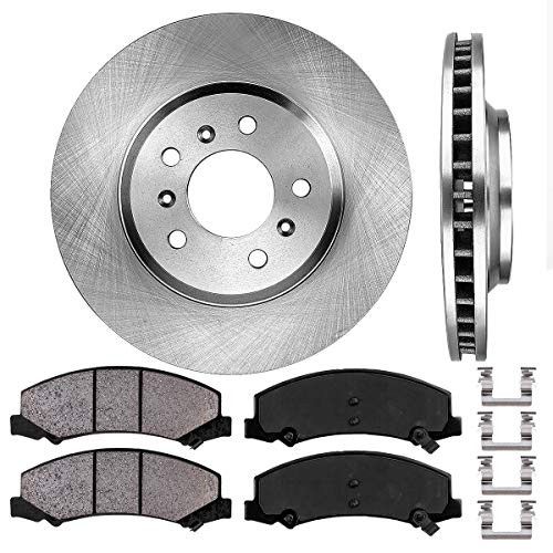 Chevy Impala Front Brake - FRONT 303 mm Premium OE 5 Lug [2] Brake Disc Rotors + [4] Ceramic Brake Pads + Clips