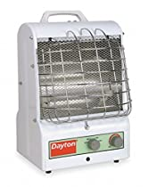 Dayton 11-1/2 x 11 x 15 Fan Forced/Radiant Electric Space Heater, White, 120VAC
