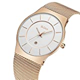 Watches,Mens watches,Women Watches,Fashion Casual,Waterproof Analog Quartz Dress Wrist Watch With Mesh Milanese Bracelet (RoseGold)