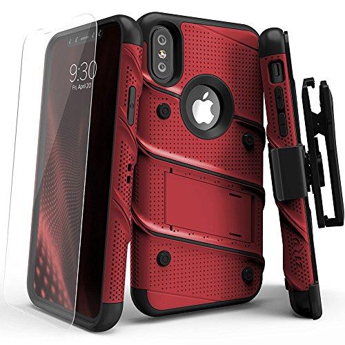 Zizo Etui avec Protection d'écran/Béquille pour iPhone X Rouge/Noir