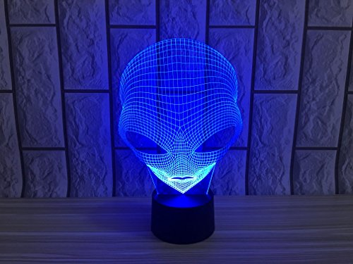 JYIFA 3D LED Alien Cartoon Lamp 7 Color Change Optical Illusion Touch Mood light USB powered Bedroom Decorative Night Light Multi for Christmas Gifts (Goku Shoes For Sale)