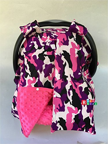 Rosy Kids Infant Carseat Canopy Cover 4pc Whole Caboodle, Baby Car Seat Cover and Canopy Cover Outdoor Traveling Kit, Purple Camouflage Hot Pink
