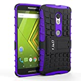 Motorola X Play Case, J&D [Armor Protection] Moto X Play [Heavy Duty] [Dual Layer] Hybrid Shock Proof Fully Protective Case for Moto X Play (Kickstand Purple)