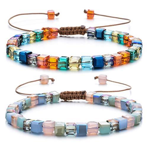 Women Bracelet Crystal Glass Bead Adjustable Bangles Handmade String Bohemia Jewelry with Gift Box(2Pcs)