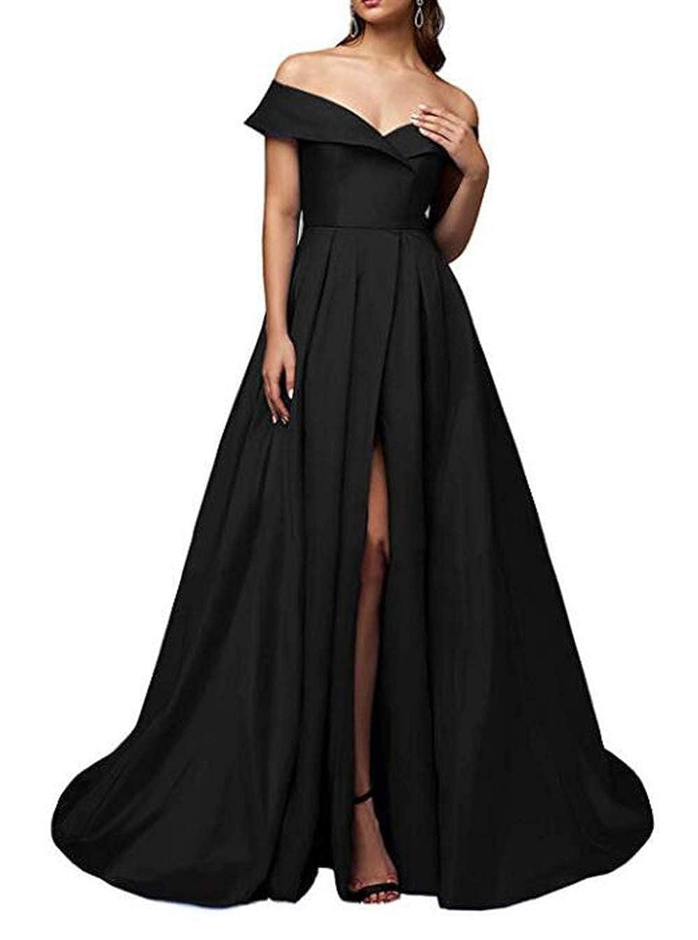 dfcb376774def alilith.Z Sexy High Split Prom Dresses Off Shoulder Long Formal ...