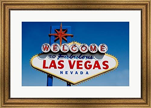 - Sign in Daytime, Las Vegas, Nevada Framed Art Print Wall Picture, Wide Gold Frame, 29 x 21 inches