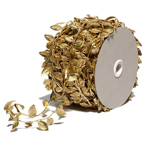 Gold Leaf Ribbon Leather Silver Sequins - 1.6in X 55Yd - Trim Ribbon for Party Wedding Home Decoration (Sequins Gold)