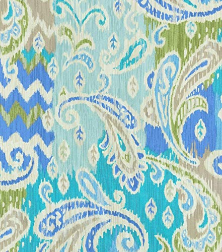 Yard Fabric Upholstery Drapery Waverly Splash of Color Celestial Ikat Paisley EE104 ()