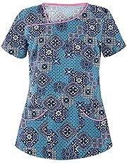 Msaikric Printed Scrub Tops Women V-Neck Floral Print Nursing Shirts Medical Uniforms for Nurse Unisex Uniform with Pocket