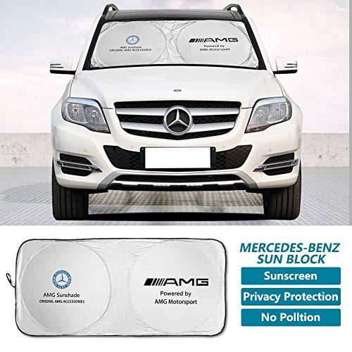 Meng Anna Car Windshield Sunshade for Benz AMG Auto, Silver Foldable Car Front Window Sun Shade Blocks UV & Heat Rays, Business Style Sun Visor Protector (Standard 59 X 27 Inches)