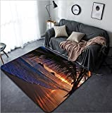 Vanfan Design Home Decorative Pacific sunrise at Lanikai beach Hawaii Modern Non-Slip Doormats Carpet for Living Dining Room Bedroom Hallway Office Easy Clean Footcloth