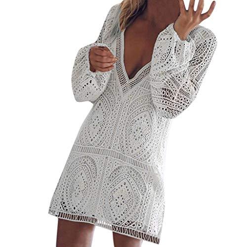 Squidward Fancy Dress (LENXH Lace Dress Ladies Dress V-Neck Beach Skirt Long-Sleeved Dress Hollow Breathable Dress Fashion Mini Skirt)