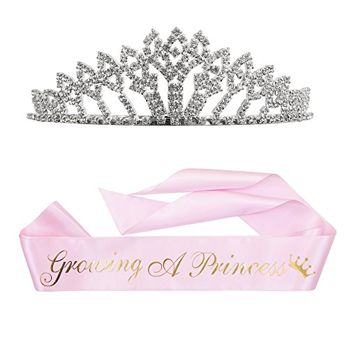 Growing a Princess Sash & Rhinestone Tiara Kit - Baby Shower Sash Princess Baby Shower Baby Sprinkle (Pink & Gold)
