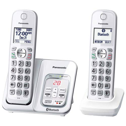 Panasonic KX-TGD592W Link2Cell Bluetooth Cordless Phone with Voice Assist and Answering Machine - 2 Handsets (Certified Refurbished)