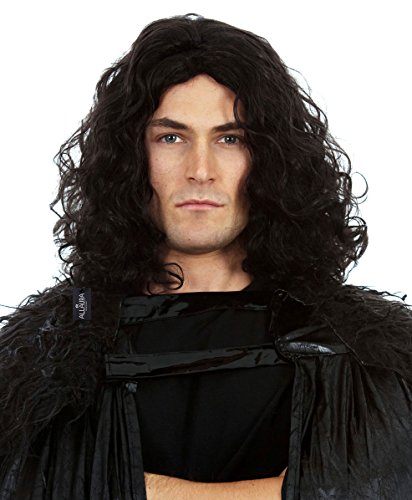 Jon Snow Wig Dark Culy Hair Mens Cosplay Costume GoT Game of (The Dark Knight Outfit)