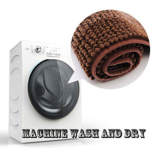 COSY HOMEER 28x18 Inch Bath Rugs Made of 100% Polyester Extra Soft and Non Slip Bathroom Mats Specialized in Machine Washable and Water Absorbent Shower Mat,Brown