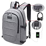 Tzowla Business Laptop Backpack, Water Resistant Anti-theft College Backpack with USB Charging Port and Lock 15.6 Inch Computer Backpacks for Women Men and Students Casual Hiking Travel Daypack (Grey)